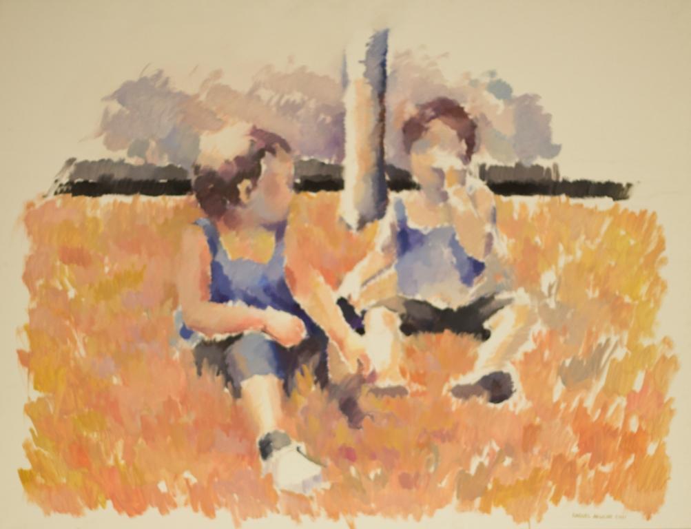 Dos niñas en el cesped de Raquel Aguilar